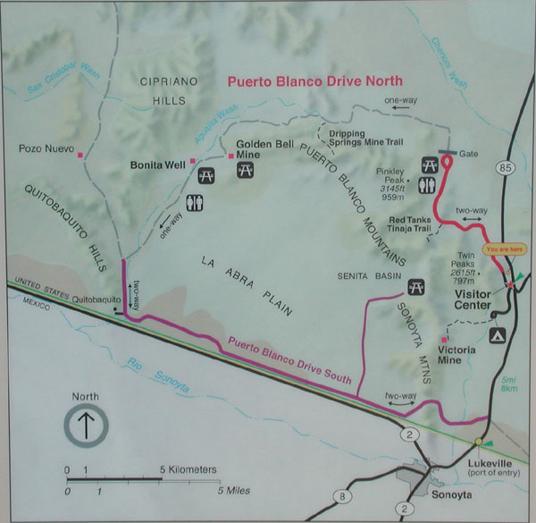 Organ Pipe National Monument map of Puerto Blanco Drive