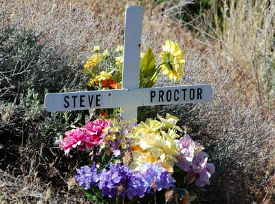 A shrine placed in memory of Steve Proctor, a motorist killed at this spot near Sycamore Creek.